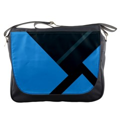 Lines Textur  Stripes Blue Messenger Bags by Jojostore