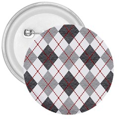 Fabric Texture Argyle Design Grey 3  Buttons by Jojostore