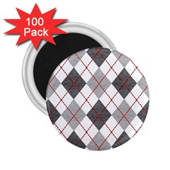 Fabric Texture Argyle Design Grey 2 25  Magnets (100 Pack)
