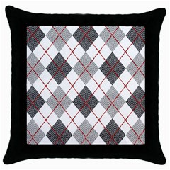 Fabric Texture Argyle Design Grey Throw Pillow Case (black) by Jojostore