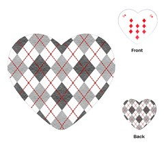 Fabric Texture Argyle Design Grey Playing Cards (heart)