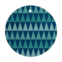 Blues Long Triangle Geometric Tribal Background Ornament (round)  by Jojostore