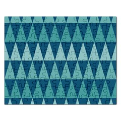 Blues Long Triangle Geometric Tribal Background Rectangular Jigsaw Puzzl by Jojostore