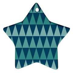 Blues Long Triangle Geometric Tribal Background Star Ornament (two Sides)  by Jojostore