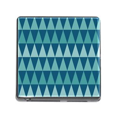 Blues Long Triangle Geometric Tribal Background Memory Card Reader (square) by Jojostore