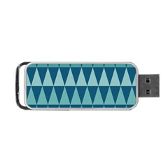 Blues Long Triangle Geometric Tribal Background Portable Usb Flash (two Sides) by Jojostore