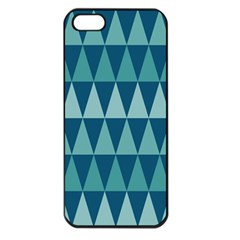 Blues Long Triangle Geometric Tribal Background Apple Iphone 5 Seamless Case (black)