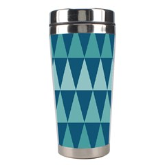 Blues Long Triangle Geometric Tribal Background Stainless Steel Travel Tumblers