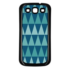 Blues Long Triangle Geometric Tribal Background Samsung Galaxy S3 Back Case (black) by Jojostore