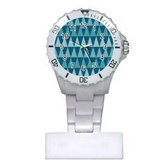 Blues Long Triangle Geometric Tribal Background Plastic Nurses Watch by Jojostore