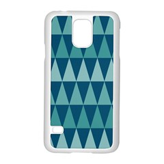 Blues Long Triangle Geometric Tribal Background Samsung Galaxy S5 Case (white) by Jojostore
