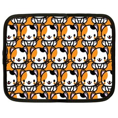 Face Cat Yellow Cute Netbook Case (large) by Jojostore