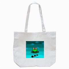 Frog Tadpole Green Tote Bag (white) by Jojostore