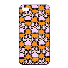 Dog Foot Orange Soles Feet Apple Iphone 4/4s Seamless Case (black) by Jojostore