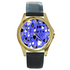 Fruit Strobery Leci Purple Round Gold Metal Watch by Jojostore