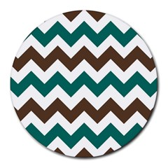 Green Chevron Round Mousepads by Jojostore