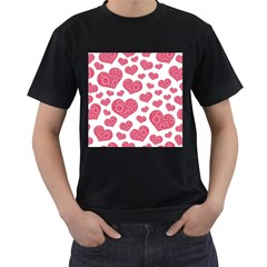 Heart Love Pink Back Men s T-shirt (black) (two Sided)