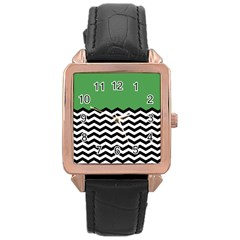 Lime Green Chevron Rose Gold Leather Watch