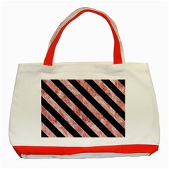 Stripes3 Black Marble & Red & White Marble (r) Classic Tote Bag (red)