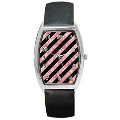 Stripes3 Black Marble & Red & White Marble Barrel Style Metal Watch by trendistuff