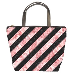Stripes3 Black Marble & Red & White Marble Bucket Bag by trendistuff