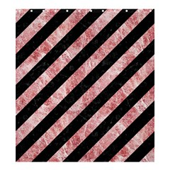 Stripes3 Black Marble & Red & White Marble Shower Curtain 66  X 72  (large) by trendistuff