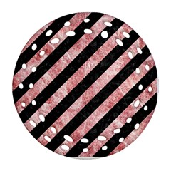Stripes3 Black Marble & Red & White Marble Round Filigree Ornament (two Sides) by trendistuff