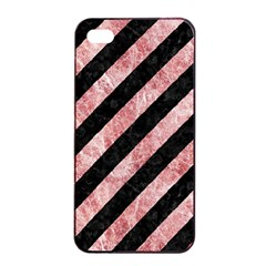 Stripes3 Black Marble & Red & White Marble Apple Iphone 4/4s Seamless Case (black) by trendistuff