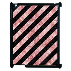 Stripes3 Black Marble & Red & White Marble Apple Ipad 2 Case (black) by trendistuff