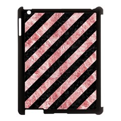 Stripes3 Black Marble & Red & White Marble Apple Ipad 3/4 Case (black) by trendistuff