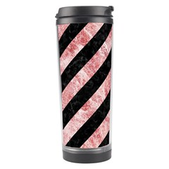 Stripes3 Black Marble & Red & White Marble Travel Tumbler by trendistuff