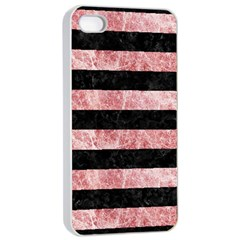 Stripes2 Black Marble & Red & White Marble Apple Iphone 4/4s Seamless Case (white) by trendistuff