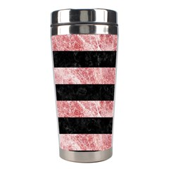 Stripes2 Black Marble & Red & White Marble Stainless Steel Travel Tumbler by trendistuff
