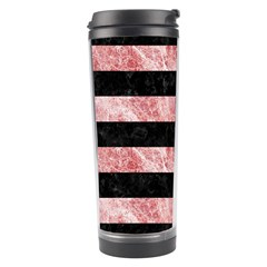 Stripes2 Black Marble & Red & White Marble Travel Tumbler by trendistuff