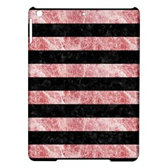 Stripes2 Black Marble & Red & White Marble Apple Ipad Air Hardshell Case by trendistuff