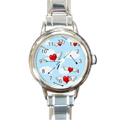 Love Hunting Round Italian Charm Watch by Valentinaart