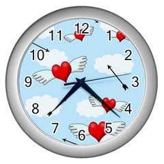 Love Hunting Wall Clocks (silver)  by Valentinaart