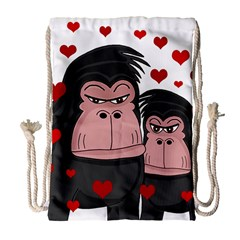 Gorillas Love Drawstring Bag (large) by Valentinaart