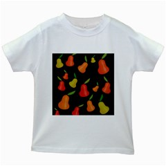 Pears Pattern Kids White T Shirts by Valentinaart