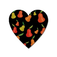 Pears Pattern Heart Magnet by Valentinaart
