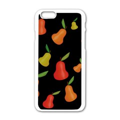 Pears Pattern Apple Iphone 6/6s White Enamel Case by Valentinaart