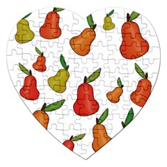 Decorative Pears Pattern Jigsaw Puzzle (heart) by Valentinaart