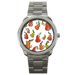 Decorative Pears Pattern Sport Metal Watch by Valentinaart