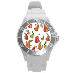 Decorative Pears Pattern Round Plastic Sport Watch (l) by Valentinaart