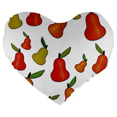 Decorative Pears Pattern Large 19  Premium Flano Heart Shape Cushions by Valentinaart