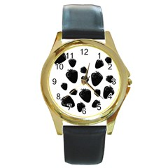 Black Strowberries Round Gold Metal Watch