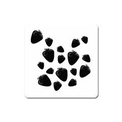 Black Strowberries Square Magnet by Valentinaart