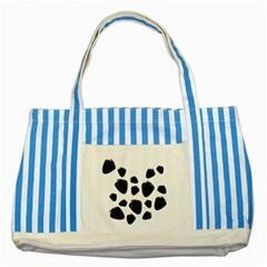 Black Strowberries Striped Blue Tote Bag by Valentinaart
