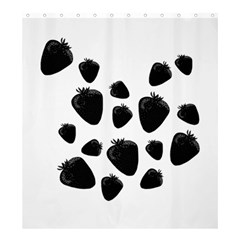 Black Strowberries Shower Curtain 66  X 72  (large)  by Valentinaart