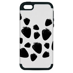 Black Strowberries Apple Iphone 5 Hardshell Case (pc+silicone) by Valentinaart